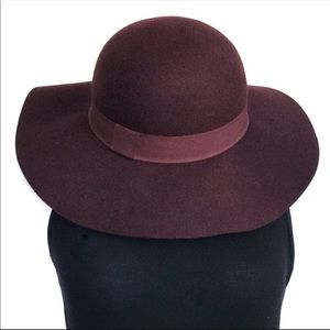 Accessories - Red Wool Wide Brimmed Hat